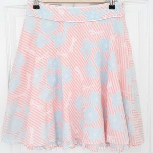 Limited Too Pink Striped Skirt Blue Floral Pattern